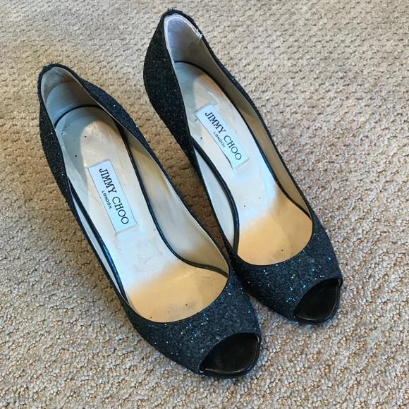 8a9f33a3e96 Jimmy Choo Shoes - Jimmy Choo blue sparkle black wedge shoe